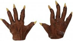 Kurze Latex-Handschuhe Werwolf Kostümaccesssoire braun-beige