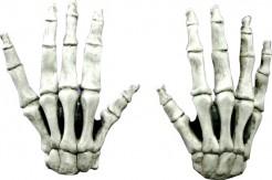 Kurze Latex-Handschuhe Skelett  Kostümaccesssoire weiss