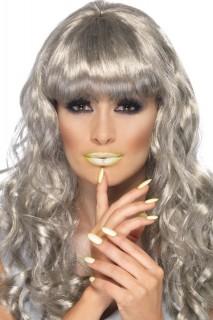 Leuchtender Lippenstift und Nagellack phosphoreszierend gelb