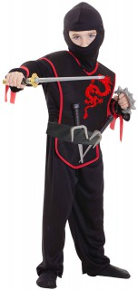 Drachenninja-Kinderkostüm mit Waffen schwarz-rot