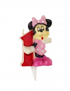 Minnie Maus™ Kerze Geburtstagskerze Zahl 1 rosa-rot-schwarz 6,5cm