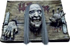 Halloween-Dekoration Zombies-Welcome-Schild braun-grün-rot