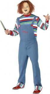 Chucky die Mörderpuppe Halloween-Kostüm mit Maske blau-bunt