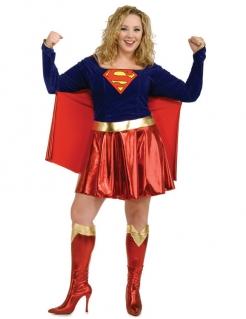 Supergirl Damen-Kostüm übergröße blau-rot-gold