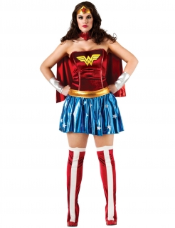 Plus Size Wonder Woman-Kostüm Damen rot-blau