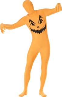 Kürbis Second-Skin-Suit Halloweenkostüm orange-schwarz