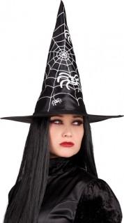 Hexenhut Halloween-Kostumzubehör schwarz-weiss 40cm