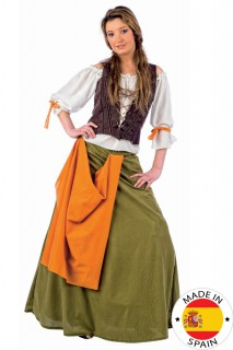 Mittelalter Magd Damenkostüm braun-grün