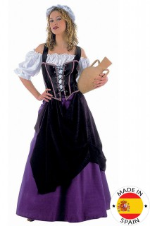 Mittelalter Wirtin Damenkostüm schwarz-lila