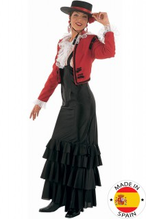 Spanierin Flamenco Damenkostüm rot-schwarz