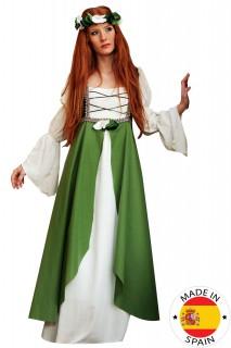 Mittelalterliches Damen-Kostüm grün-weiss