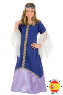 Mittelalterliche Königin - Mädchen-Kostüm violett