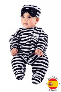 Sträfling Baby Kostüm Strampler weiss-schwarz
