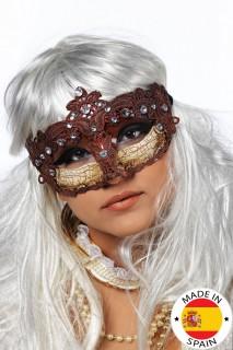 Venezianische Maske Schmucksteine Augenmaske braun