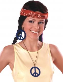 Hippie-Ohrringe und Kettenanhänger blau