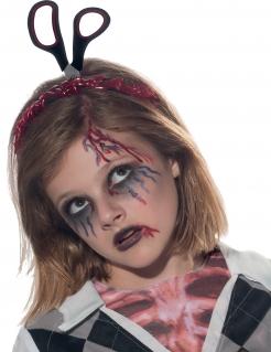 Halloween Haarreif Schere im Kopf Accessoire schwarz-rot