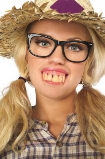 Falsche Zähne Hinterwäldler Kostümzubehör gelb-rosa