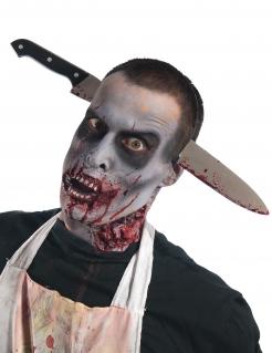 Halloween Haarreif blutiges Messer Accessoire schwarz-silber-rot