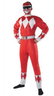 Kostüm Power Rangers für Erwachsene rot