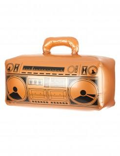 Aufblasbares Radio Ghettoblaster orange-schwarz