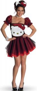 Hello Kitty Glitzer Damenkostüm Lizenzware rot-weiss