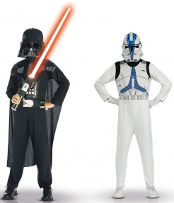 Star Wars Darth Vader und Clone Trooper Kinderkostüm 2er-Set schwarz-weiss-blau
