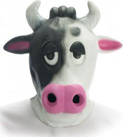 Kuh Karnevalsmaske weiss-rosa-schwarz