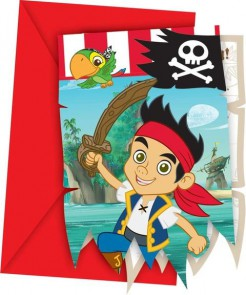 Jake und die Nimmerland Piraten Einladungskarten mit Umschlag Lizenzware 12-teilig bunt