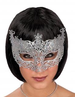 Venezianische Augenmaske mit Schnörkeln Kostüm-Accessoire silber