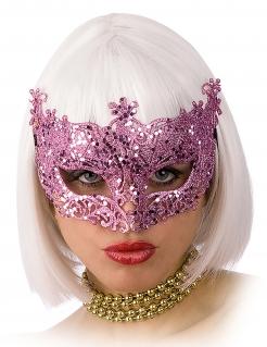 Venezianische Augenmaske mit Schnörkeln Kostüm-Accessoire rosa