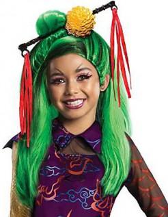 Jinafire Long Monster High langhaar Kinder-Perücke Lizenzware grün-gelb-rot