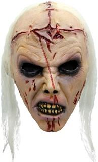 Schaurige Halloween Zombie Maske mit Narben Accessoire hautfarben