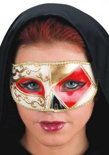 Venezianische Maske Harlekin-Motiv gold-weiss-rot