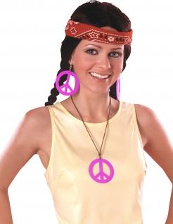 Hippie-Accessoire-Set Kette und Ohrringe mit Friedenszeichen 3-teilig pink