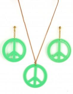 Hippie-Schmuckset Kette und Ohrringe Peace-Zeichen grün-gold