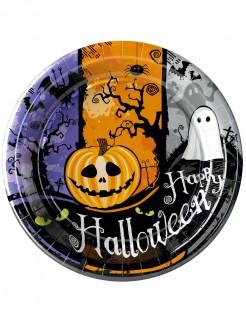 Schaurige Halloweenteller Kürbis und Geist 10 Stück lila-orange-grau 23cm