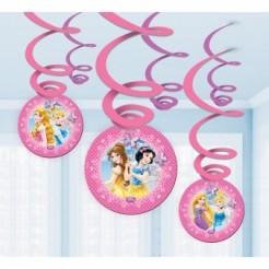 Disney Prinzessinnen Hänge-Spiralen Party-Deko 6 Stück bunt