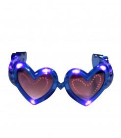 Leuchtende Herzbrille mit LED blau