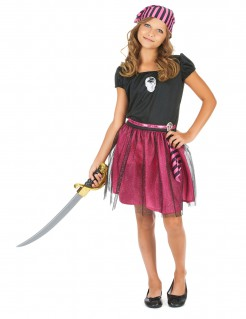 Seeräuberin Kinder-Kostüm pink-schwarz