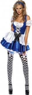 Sexy Alice Damenkostüm Märchen dunkelblau-weiss