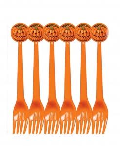 Kürbis-Gabeln Halloween-Besteck 6 Stück orange 17cm