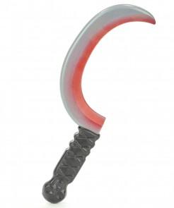 Blutige Sichel Halloween-Waffe grau-schwarz-rot 36cm
