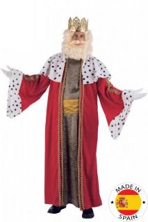 Mittelalter König Kostüm rot-weiss