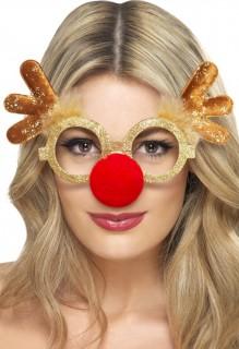Rentier Brille Weihnachtsbrille braun-gold-rot