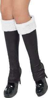 Damen-Stiefelstulpen Kostümaccessoire Weihnachten schwarz-weiss