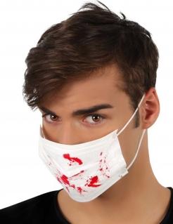 Mundschutz mit Blut-Spritzern weiss-rot