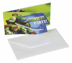 Ninja Turtles™ Einladungskarten und Umschläge Comic-Mottoparty 6 Stück