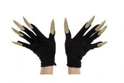Halloween Handschuhe mit langen Glitzer-Nägeln schwarz-gold