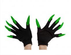 Handschuhe mit langen Nägeln schwarz-grün