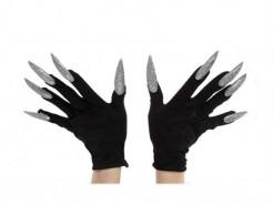 Schwarze Handschuhe mit langen silbernen Nägeln für Erwachsene schwarz-silber